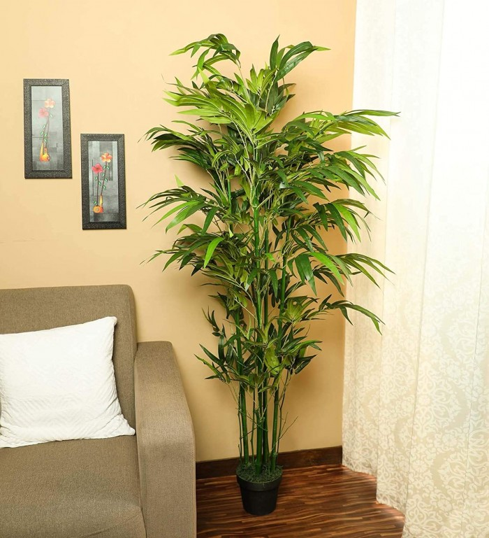 Buy Fourwalls Artificial Bamboo Plant With Pot For Home And Office D�cor (5.5 Feet Tall, Green) On