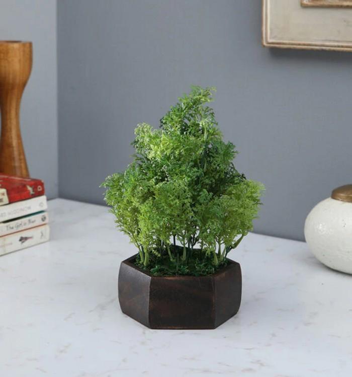 Buy Fourwalls Artificial Water Grass Leaves Plant With Wood Hexagon Pot (16 Cm X 16 Cm X 21 Cm, Dark