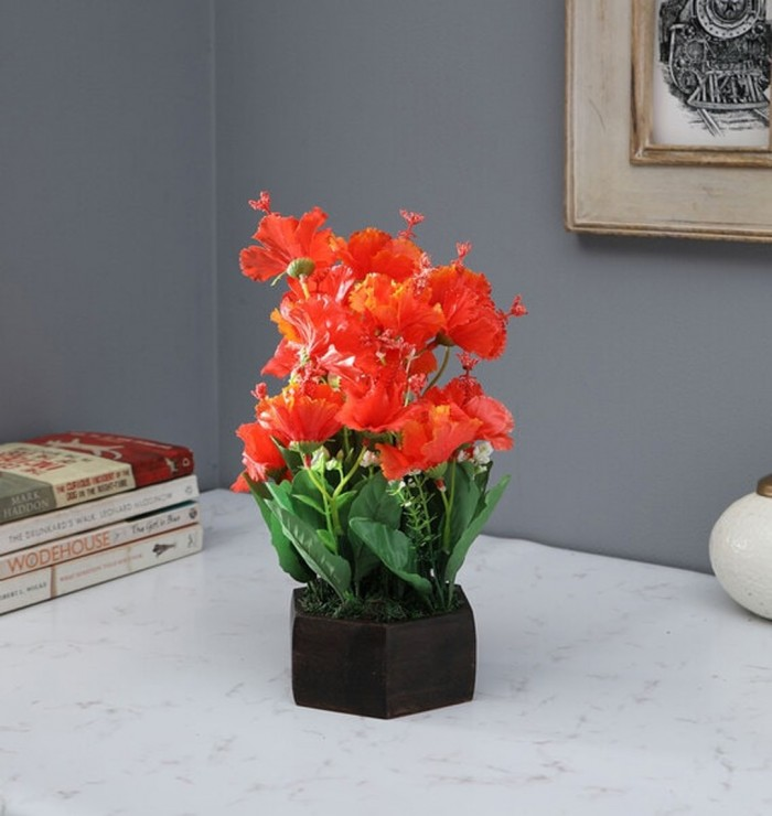 Buy Fourwalls Artificial Hibiscus Flower Plant With Wood Hexagon Pot (25 Cm X 25 Cm X 30 Cm, Red) On