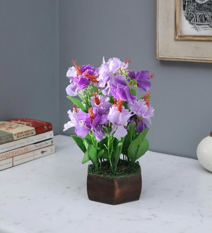 Buy Fourwalls Artificial Hibiscus Flower Plant With Wood Hexagon Pot (25 Cm X 25 Cm X 30 Cm, Blue) O