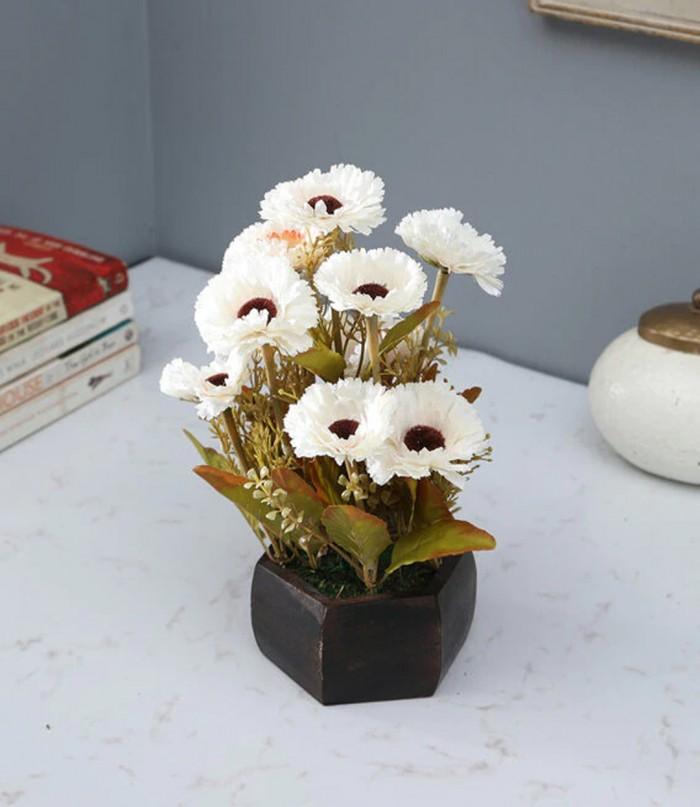 Buy Fourwalls Artificial Popy Flower Plant With Wood Hexagon Pot (20 Cm X 20 Cm X 20 Cm, White) Onli