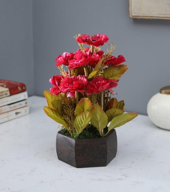 Buy Fourwalls Artificial Popy Flower Plant With Wood Hexagon Pot (20 Cm X 20 Cm X 20 Cm, Red) Online