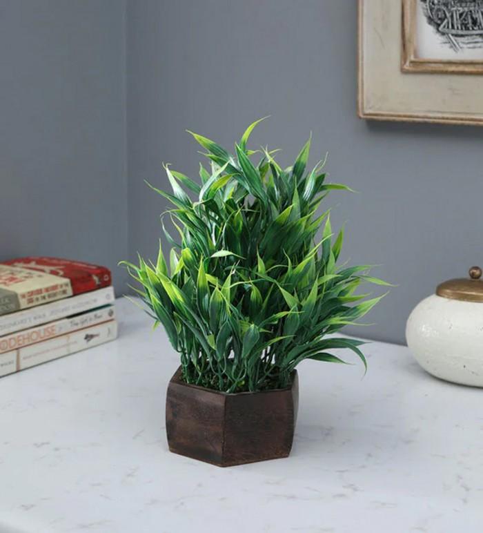 Buy Fourwalls Artificial Yucca Leaves Plant In Wood Hexagon Pot (20 Cm X 20 Cm X 32 Cm, Green) Onlin
