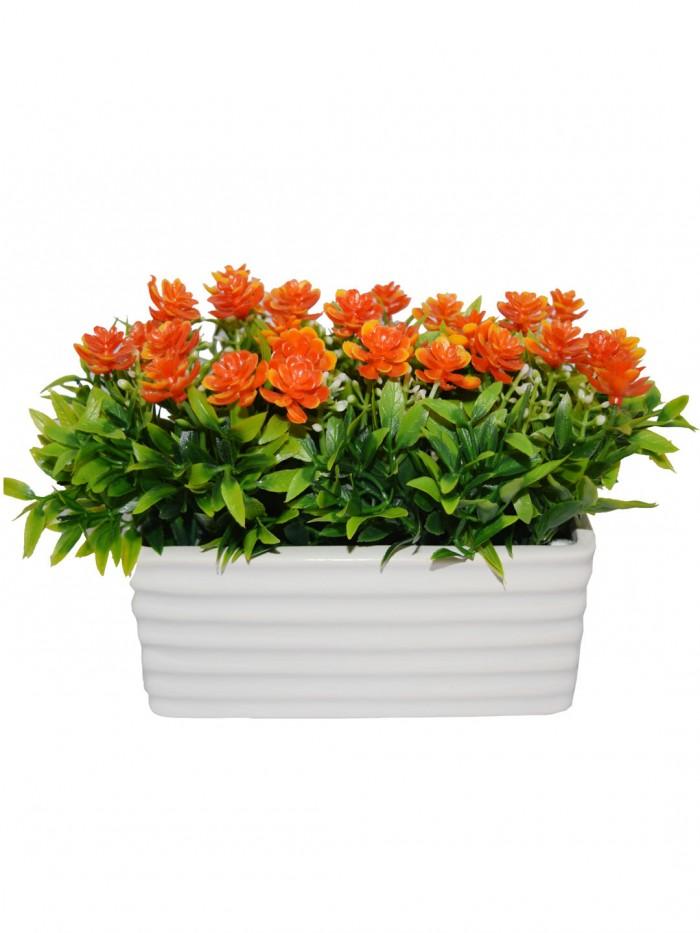 Buy Artificial PVC And Ceramic Rectangular Flower In A Ceramic Pot (20 Cm X 10 Cm X 14 Cm, Orange) O