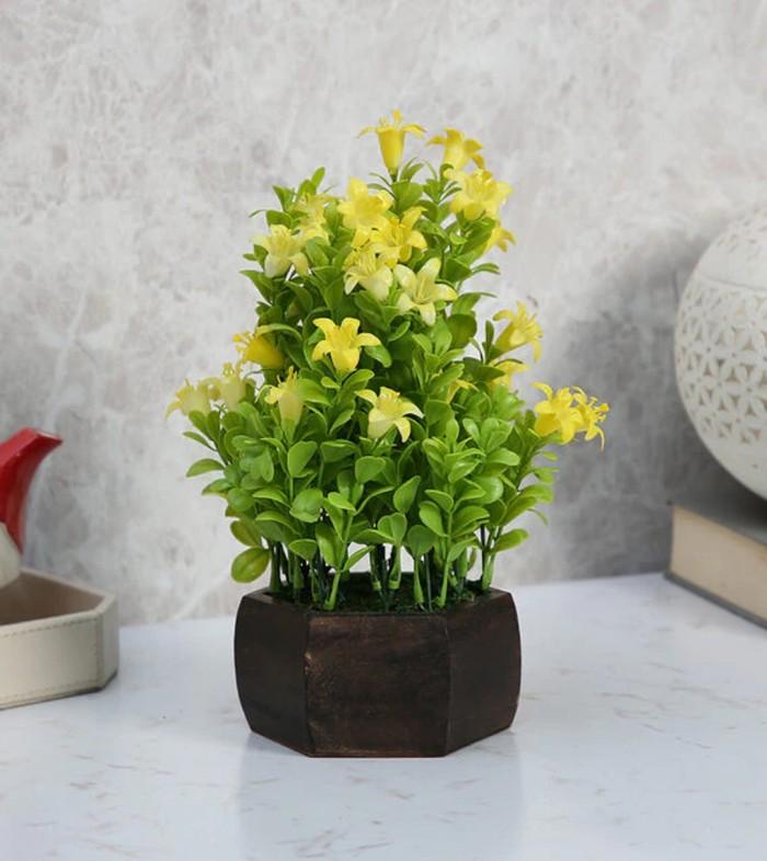 Buy Fourwalls Beautiful Artificial Bell Flower Plant With Wood Hexagon Pot (20 Cm X 20 Cm X 24 Cm, Y