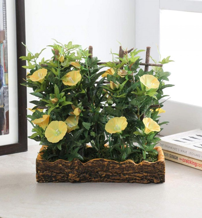 Buy Fourwalls Artificial Morning Glory Plant In A Light Weighted PU Pot (27 Cm, Yellow) Online