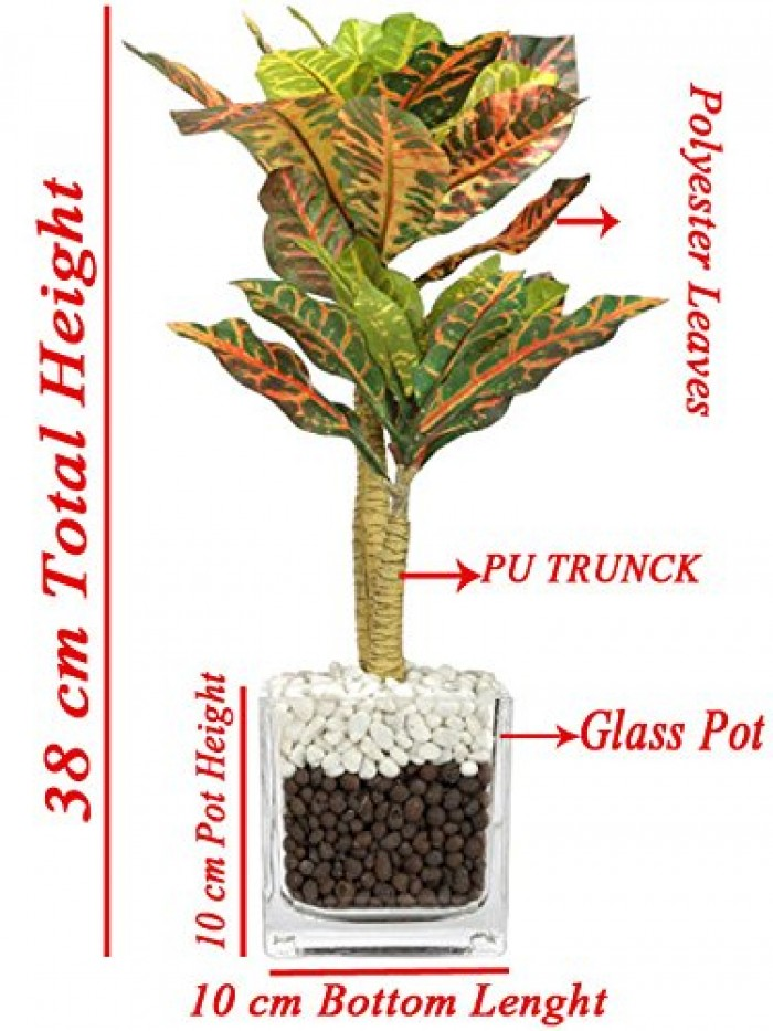Buy Artificial Croton Bonsai Plant In A Glass Vase With Stones(38 Cm Tall, 33 Leaves, 2 Branches) On